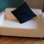 This sofa cost just £10 and I spent £20 on fabric to re-cover it. Ta da!