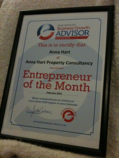 My Entrepreneur Of The Month Award