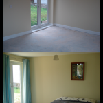Large new bedroom extension, but left empty with a concrete floor. Adding carpet, curtains and furniture showed how large and light the room really is.