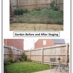 This poor garden has been left to deteriorate so the only remedy was a complete new lawn and some simple planting. Pressure wash the patio, add a bistro set and voila!