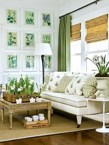 Relaxing, fresh, inviting. Green and white are very good together!