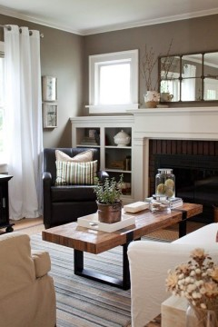 Lots of white keeps the spacious, light feeling but the 'greige' wall colour is confident and classy. Source: http://www.pinterest.com/pin/182395853631092552/