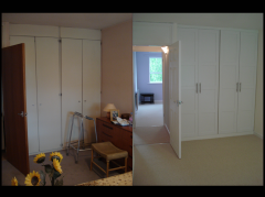 "This bedroom was dark, tired and too personal. New wardrobe doors, fresh ""light&space"" paint to maximise the light and a new carpet really make it somewhere anyone could imagine themselves."