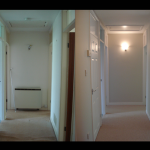 A very dull hallway with dated doors, transformed into a light, welcoming entrance.