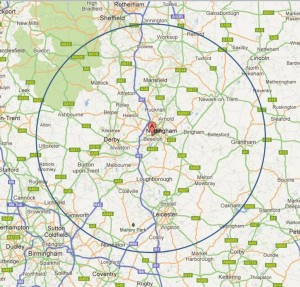 NG9 2PX 30 mile radius map