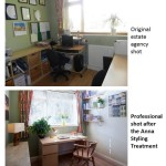 In the top pic, this room screams 'work'. A quick re-style and it's more of a whisper :)