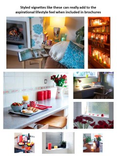 Used in the right places, styled vignettes or lifestyle set-ups can help to create a mood or a feeling. They're not great on a Rightmove or Zoopla listing, but added to a brochure they can elevate the marketing from 'ok' to 'wow'. And who doesn't want potential buyers to think 'wow!'?! Wow leads to viewings...