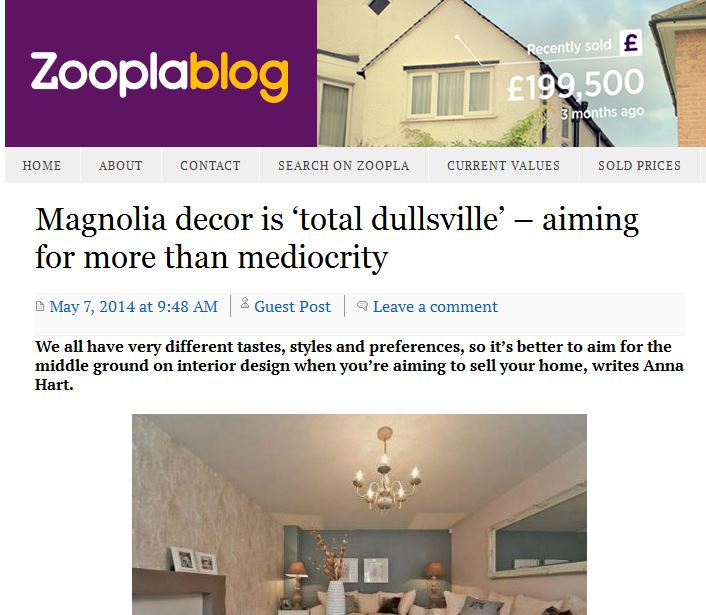 New Zoopla article: magnolia is total dullsville!