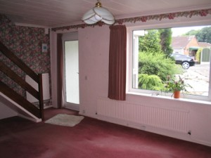 A bold pink statement in the front room